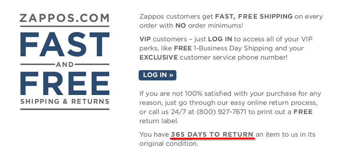 Zappos-365-days-return-policy