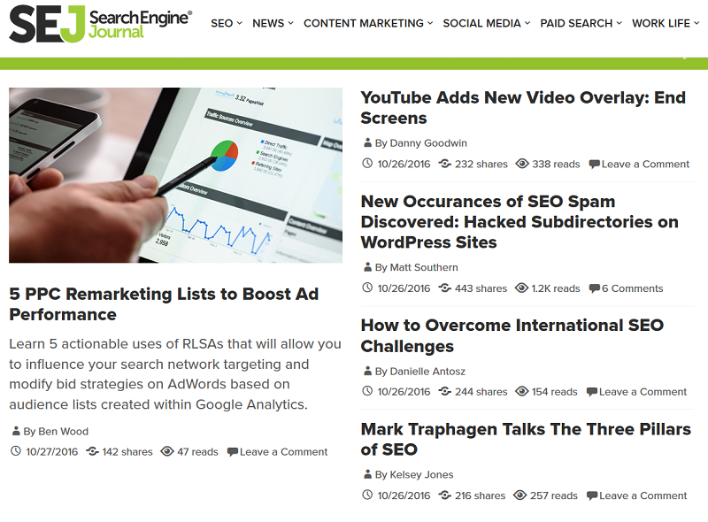 search-engine-journal-news-homepage-right-now