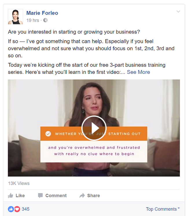 Marie-Forleo-using-video-to-market-her-business-on-Facebook