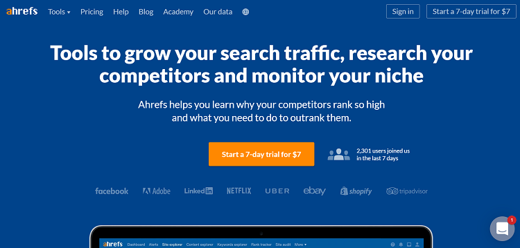 Ahrefs above the fold content