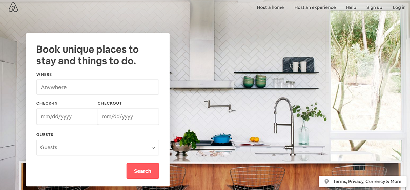Airbnb above the fold content