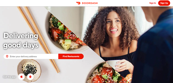 Doordash above the fold content