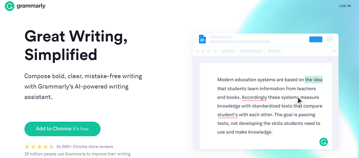 Grammarly above the fold content