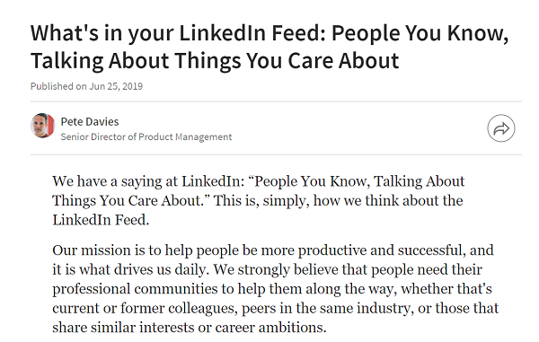 LinkedIn Algorithm change