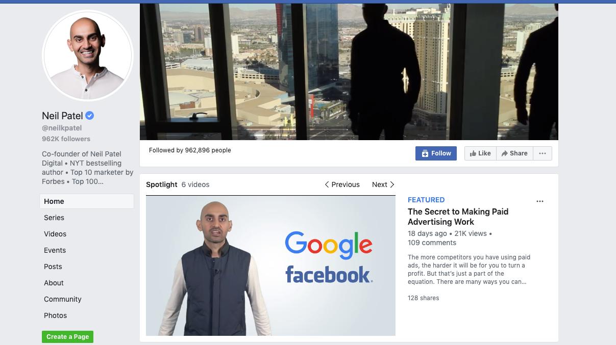 Neil Patel Facebook page