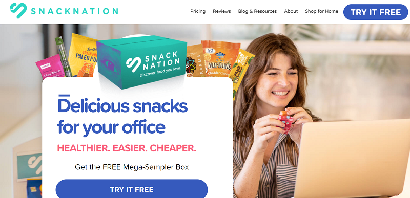 Snack Nation above the fold content
