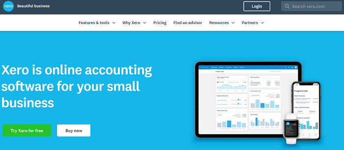 Xero above the fold content