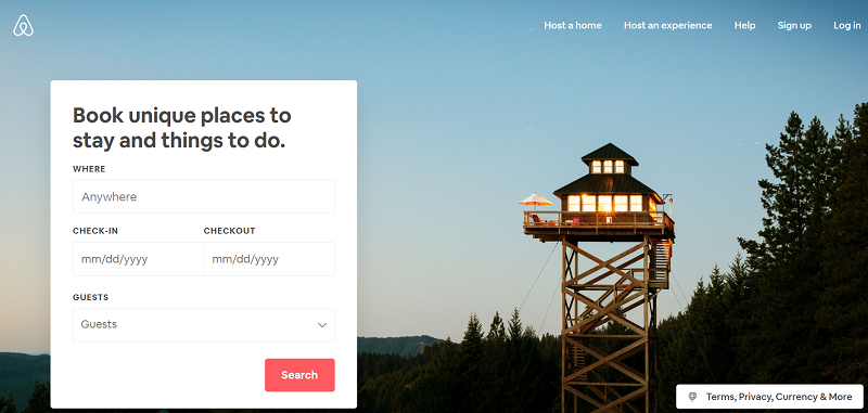Airbnb home page with an image visitors would like to see