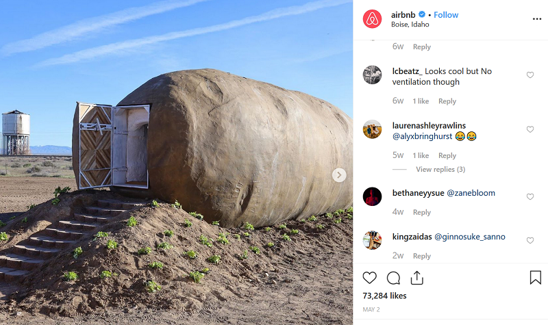 Instagram likes and comments are micro conversions for Airbnb
