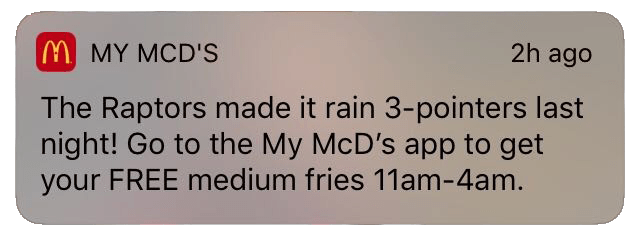 McDonalds sends timely location-based push notifications
