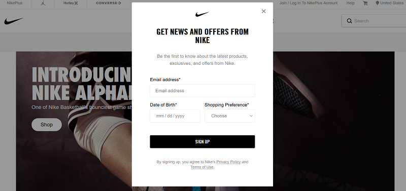 Nike asks for details in a popup on their site