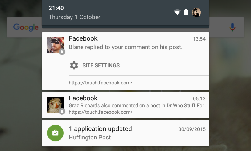 Push notifications delivered via Chrome for Android