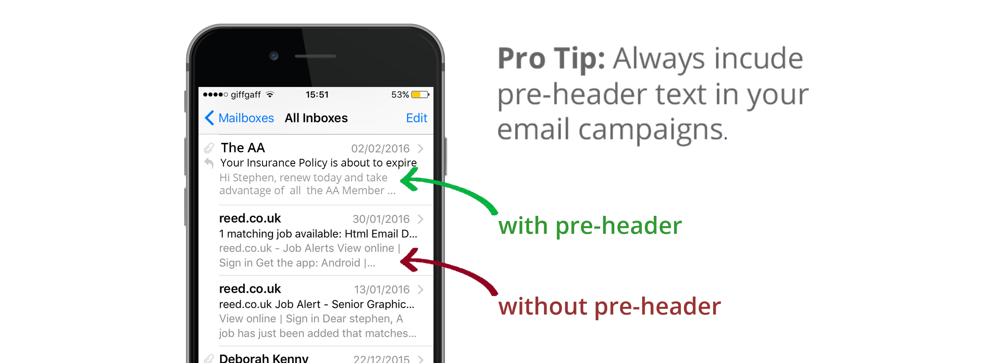 Use pre-header text in your email campaigns