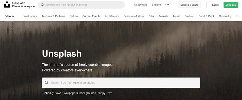 Unsplash free stock photo site