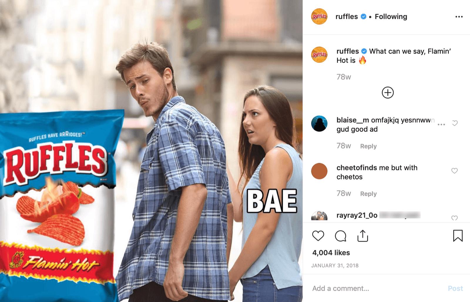Ruffles uses memes on Instagram