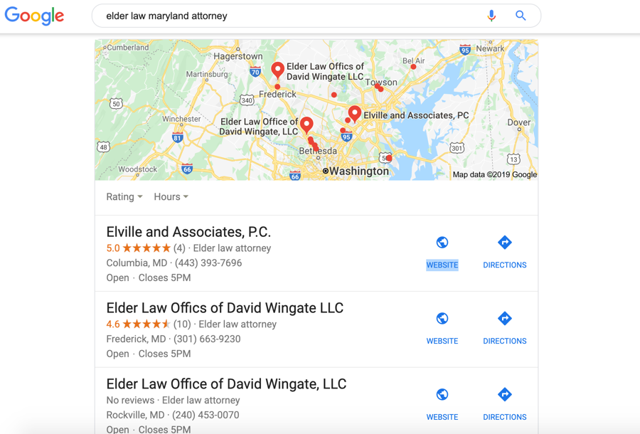Searching for a local business on Google
