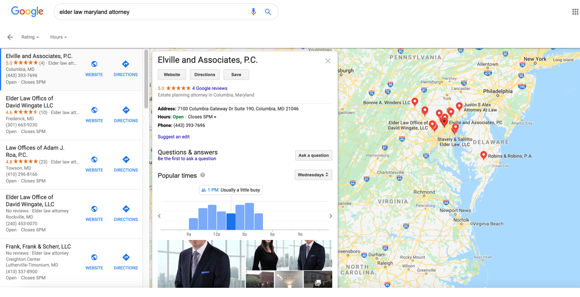 Viewing a business result on Google Maps