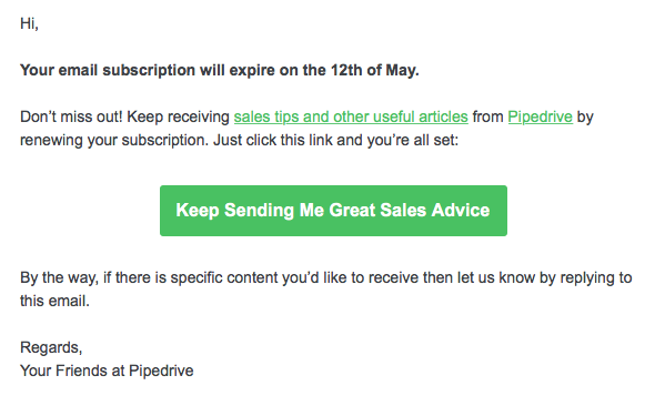 Email reactivation message
