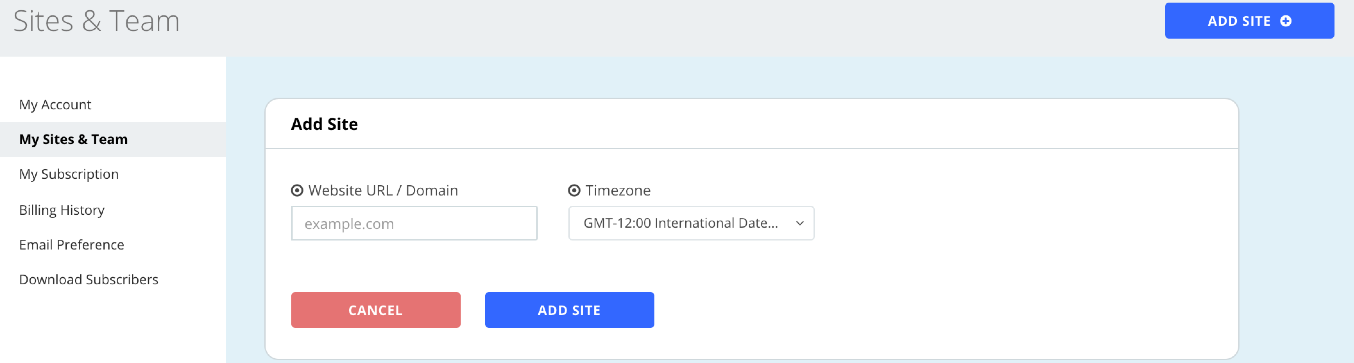 Add your site to OmniKick and select timezone