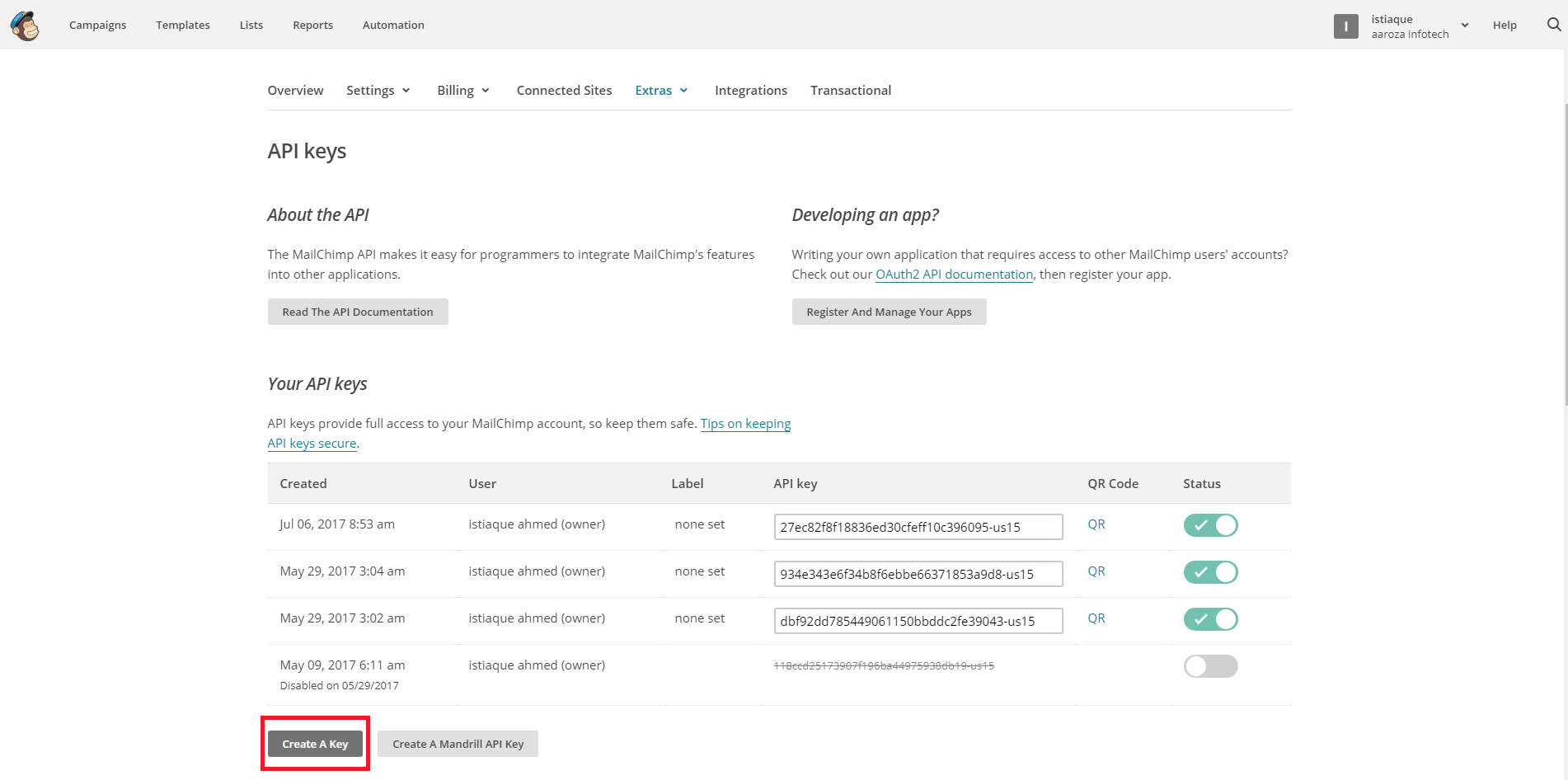 Your New API Key in MailChimp