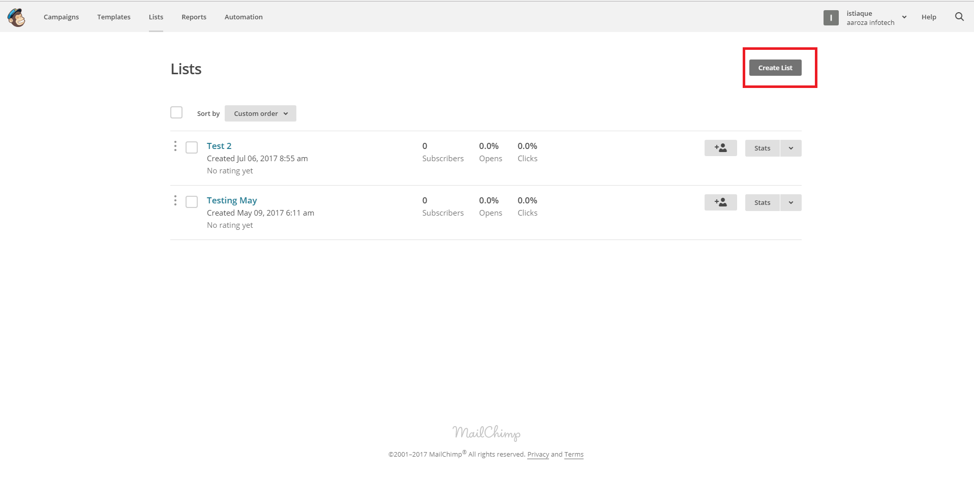 Create a new list for your MailChimp