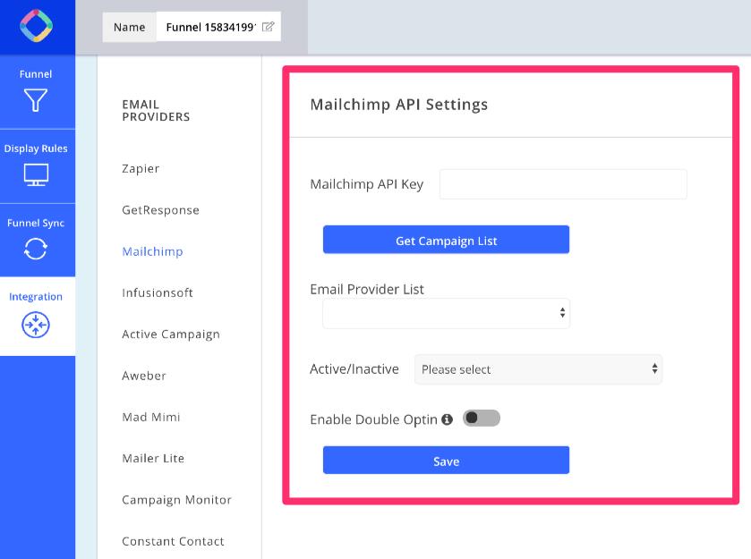 Inputting your MailChimp API key into OmniKick
